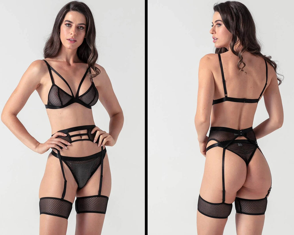 sexiest evalamor hollow fishnet lingerie set
