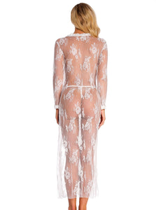 White Lace Long Sleeve Nightgown - Evalamor