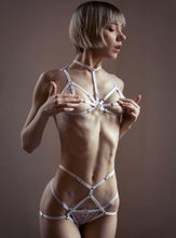 Load image into Gallery viewer, White Bondage Bra Set