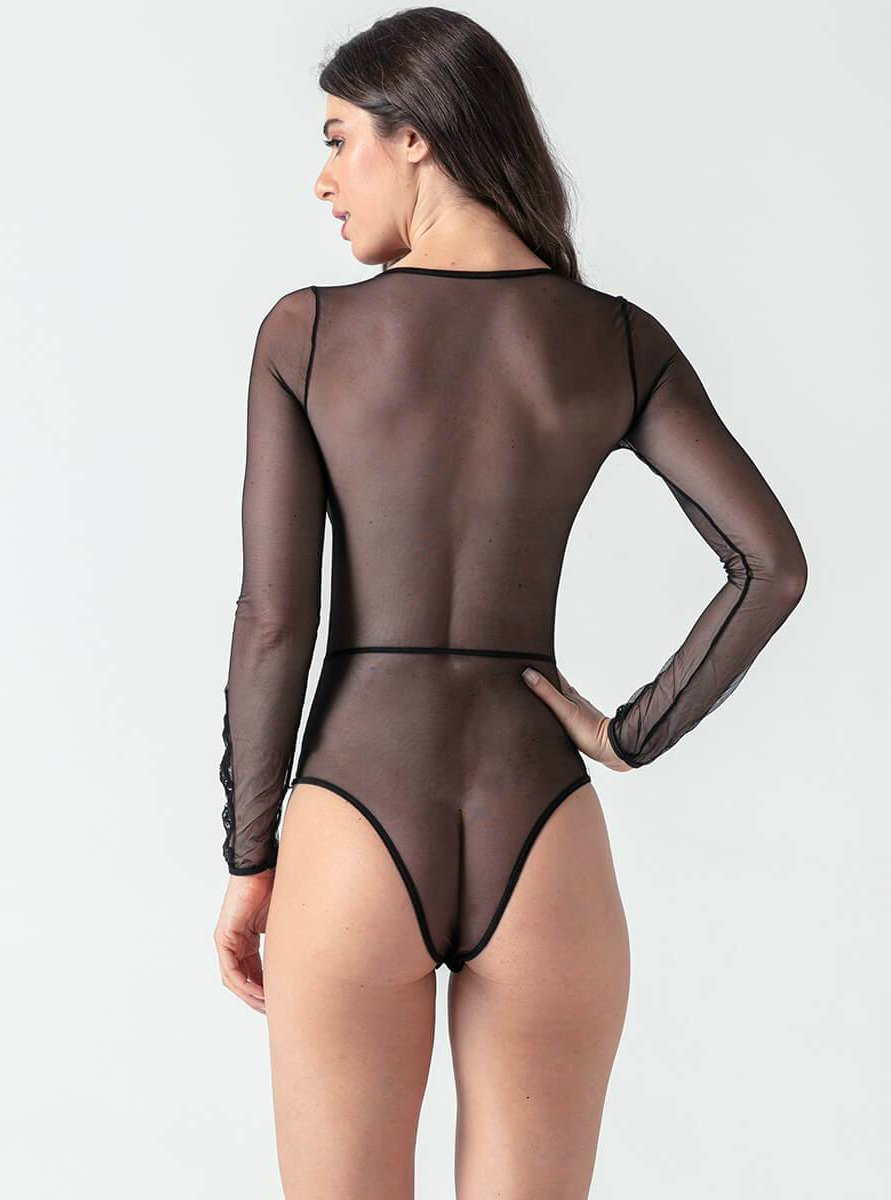 Long Sleeve V Collar Playsuit - Evalamor
