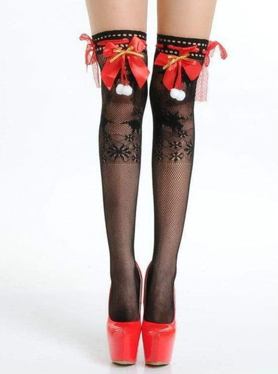 Lace Fishnet Stay Up Thigh-High with Bow.