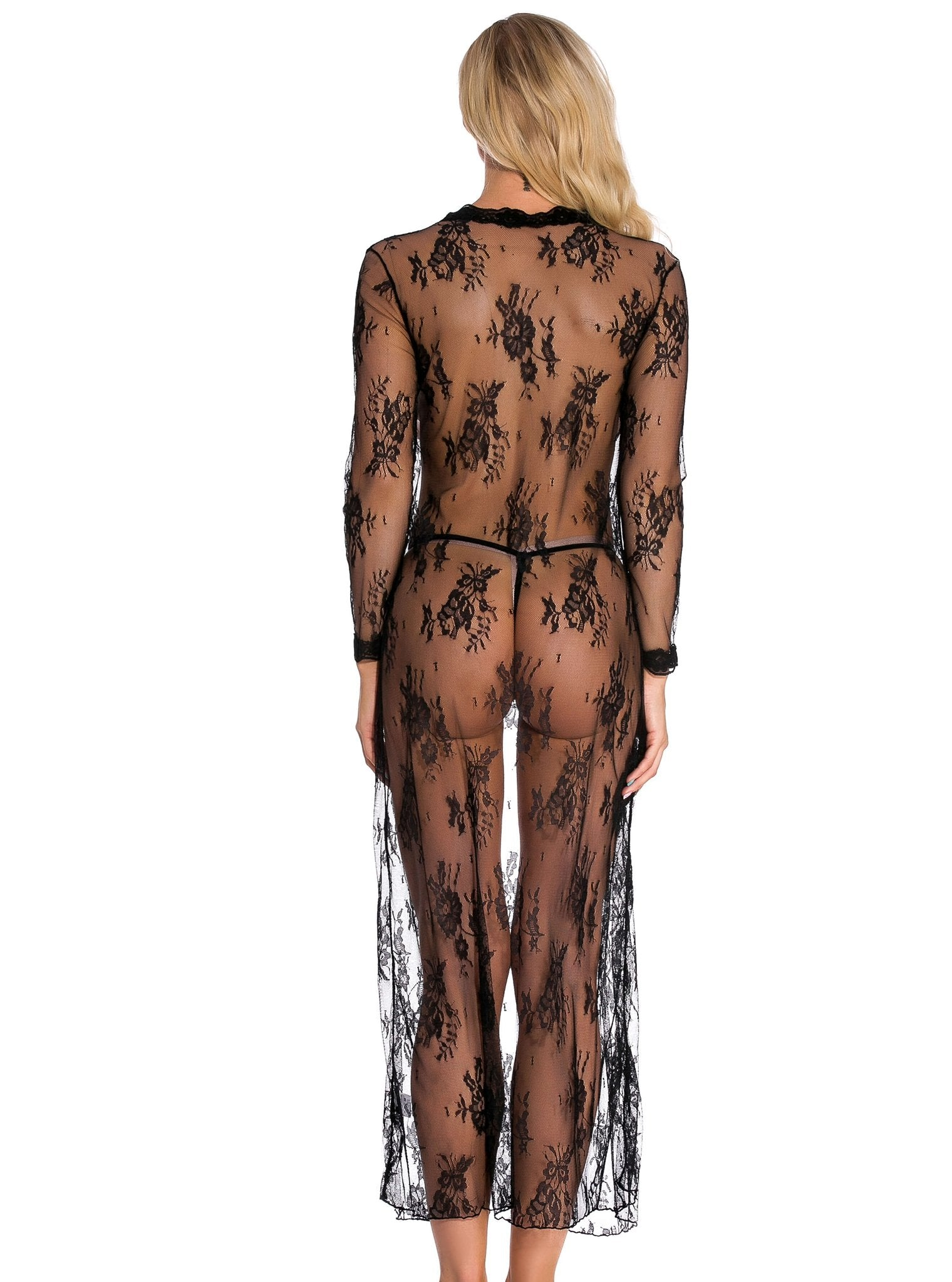 Black Lace Long Sleeve Nightgown - Evalamor