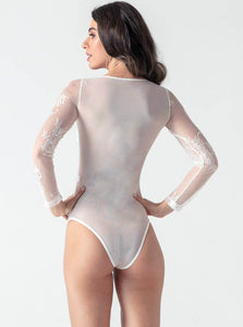 Lace Long Sleeve Palysuits - Evalamor