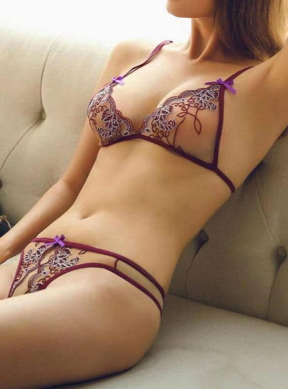 Lace Embroidery Bra Set.