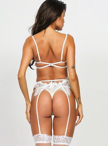 White Eyelash Lace Bra Set - Evalamor