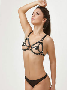 Black Cage Harness Lingerie Top