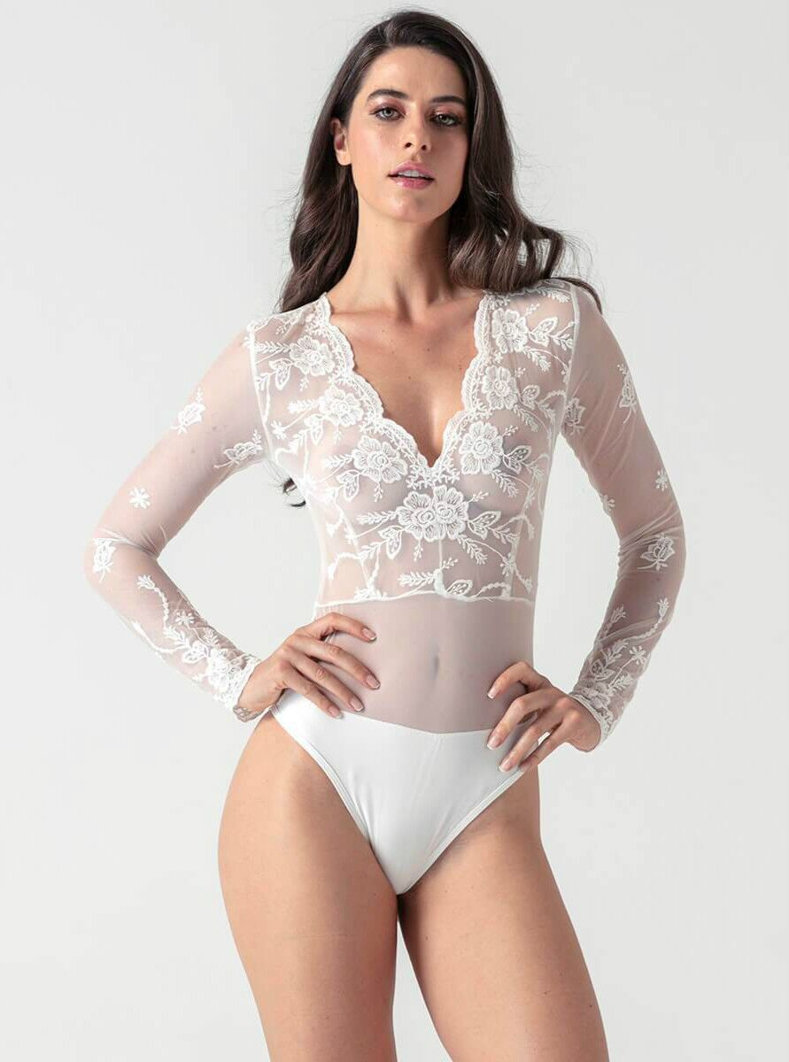 Wave Deep V-neck Lace Long Sleeve Playsuit - Evalamor