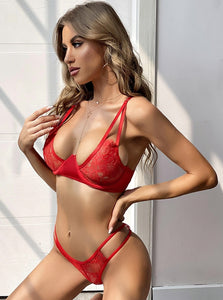 Red Curve Bra Set.