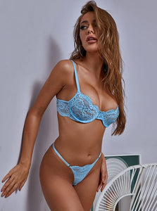 Blue Allover Lace Bra Set