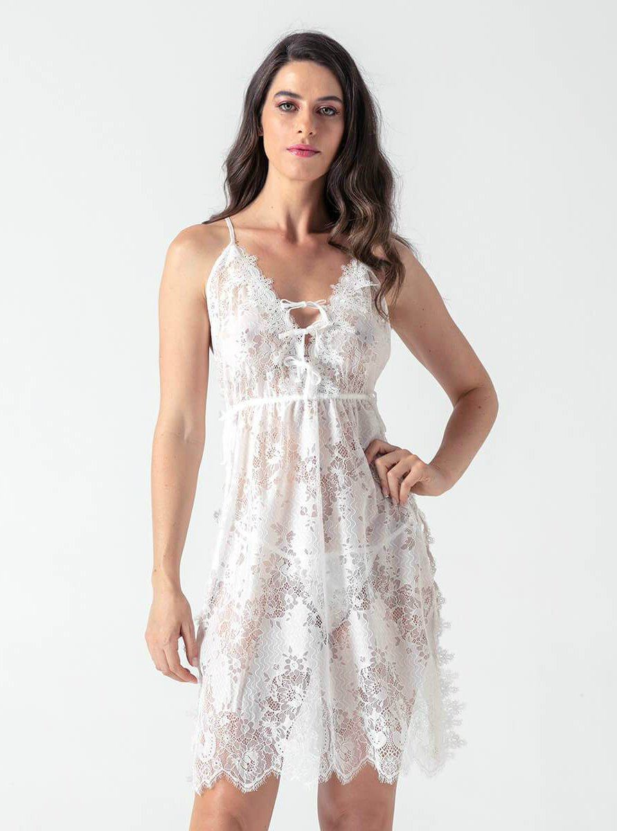 White Lace Side Split Sling Babydoll - Evalamor