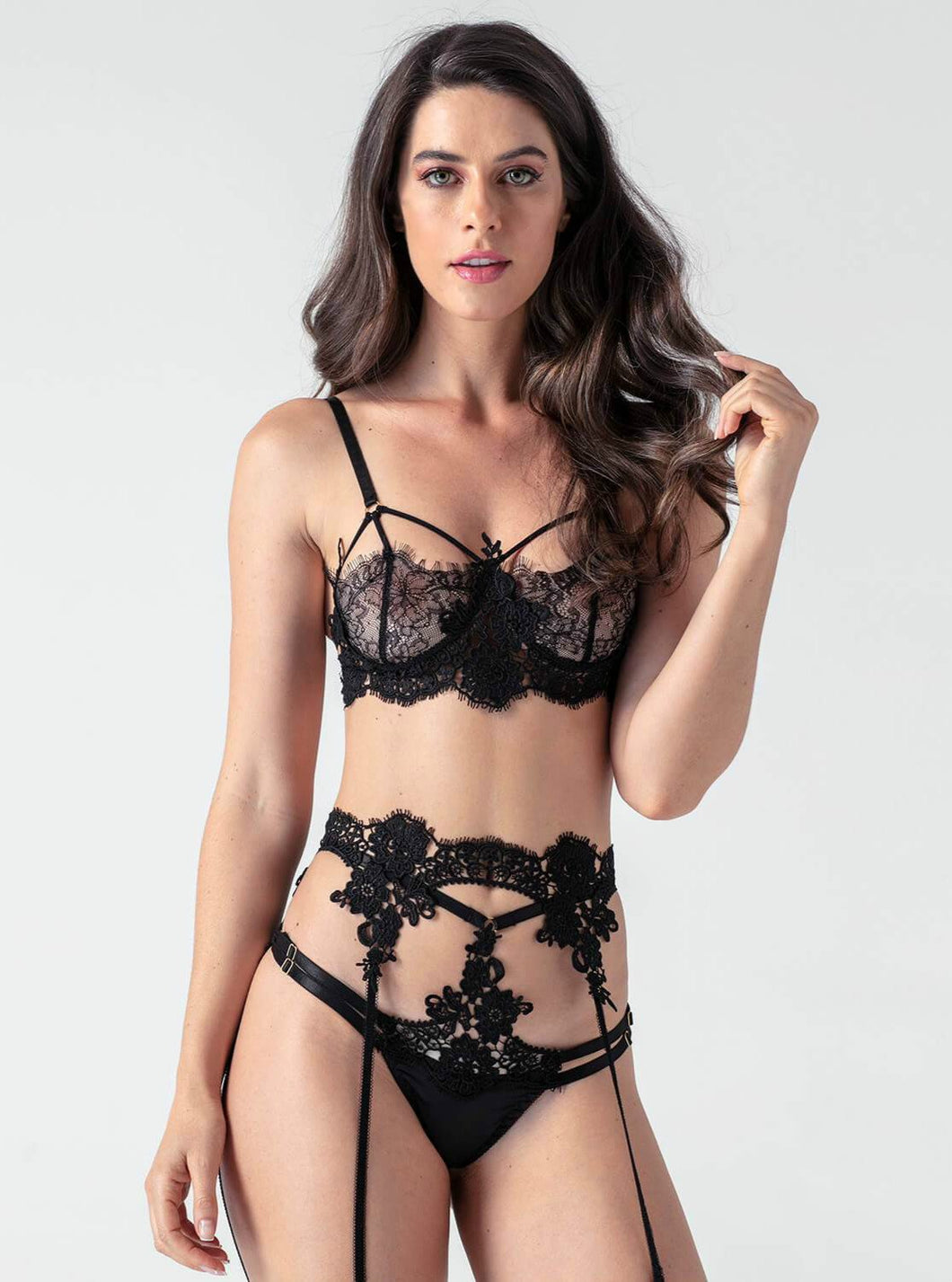 Black Lace Strappy 3 Piece Bra Set - Evalamor