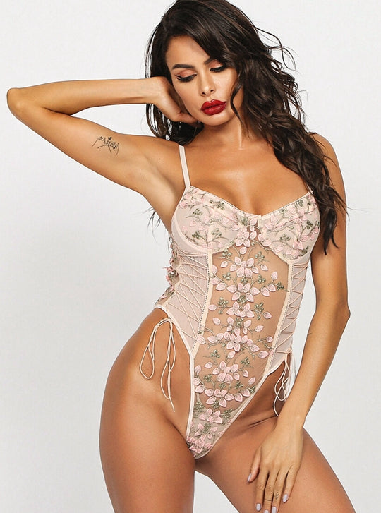 Pink Floral Embroidered Bodysuit - Evalamor