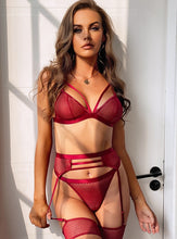 Load image into Gallery viewer, Red Hollow Fishnet Bra Set