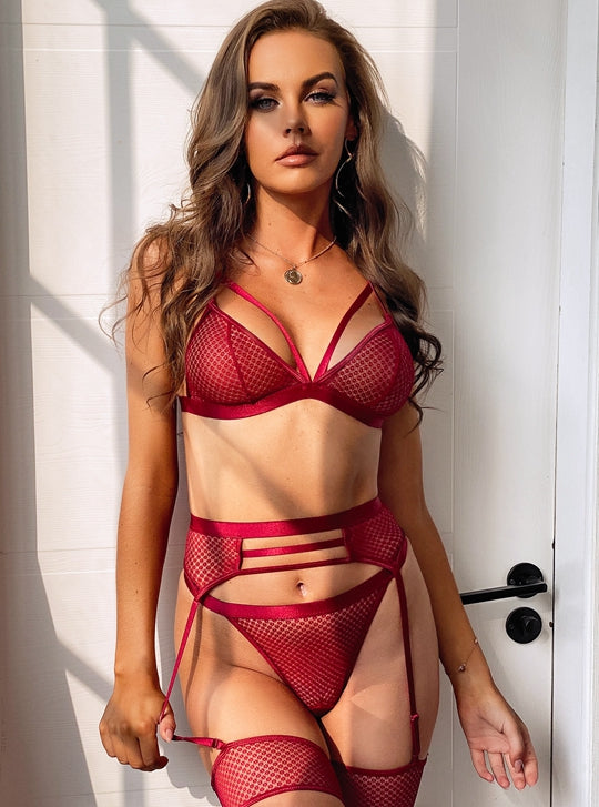 Red Hollow Fishnet Bra Set
