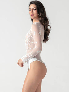 Wave Deep V-neck Lace Long Sleeve Playsuit