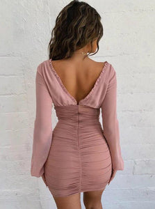Light Pink Long Sleeve Gather Dress - Evalamor