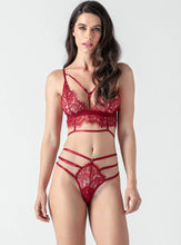 Load image into Gallery viewer, Red Lace Sexy Lingerie Bra Set - Evalamor