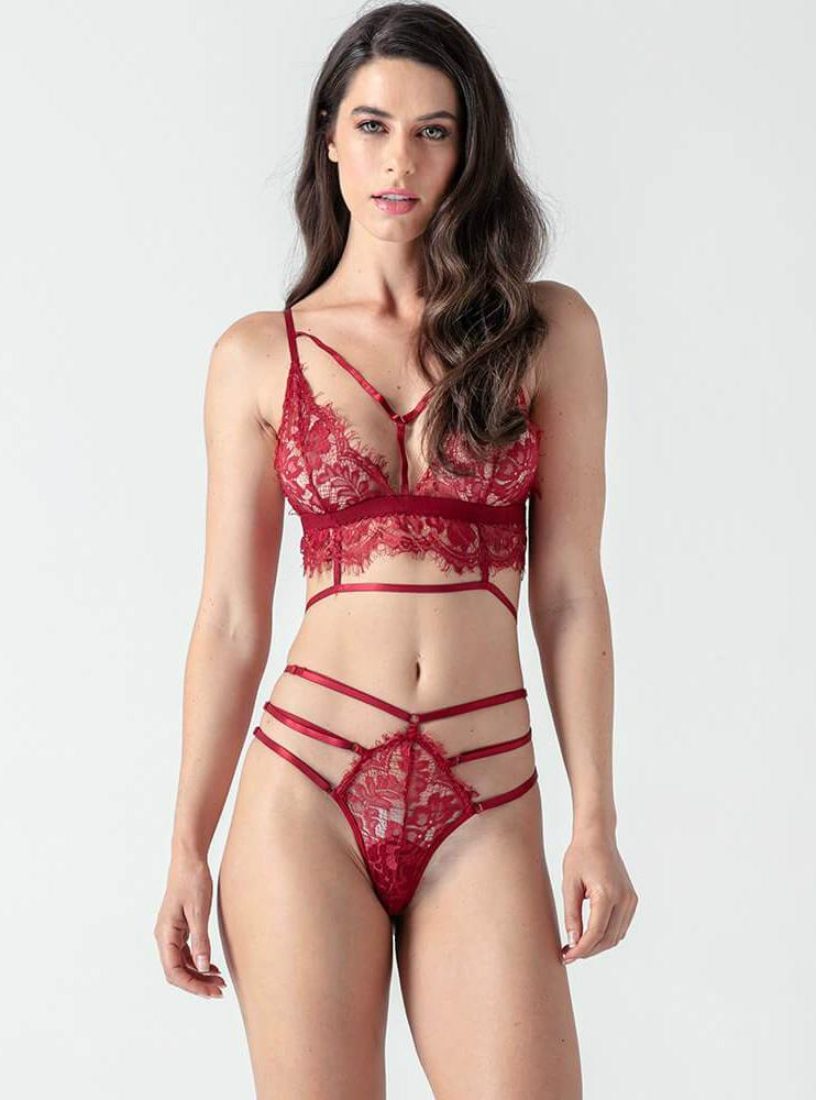 Red Lace Sexy Lingerie Bra Set - Evalamor