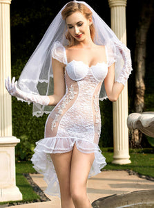 White lace mesh bride costume - Evalamor