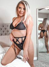 Load image into Gallery viewer, Strappy Stripe Lingerie Set