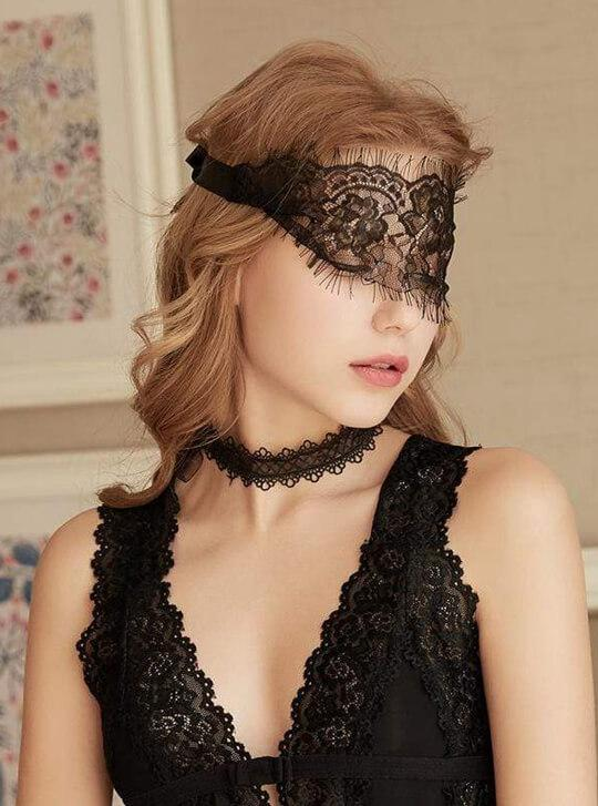 Black Lace Eyelash Eye Mask.