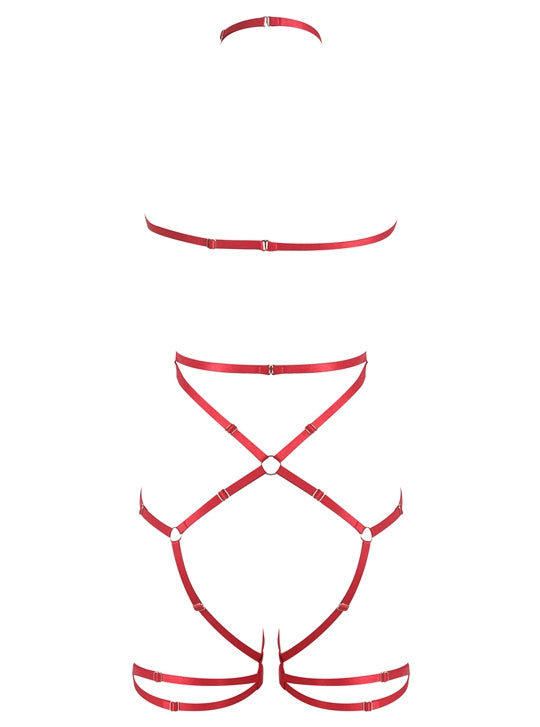 Red Strappy Body Cage Harness