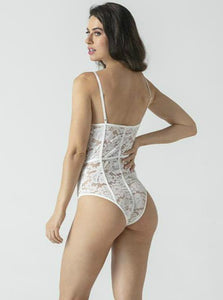 White Hollow Embroidery Bodysuit - Evalamor