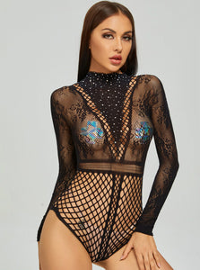 Rhinestone Hollow Mesh Bodysuit.