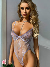 Load image into Gallery viewer, Lilac Floral Lace Bodysuit