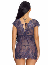 Load image into Gallery viewer, Blue Lace Deep V Babydoll Dress - Evalamor