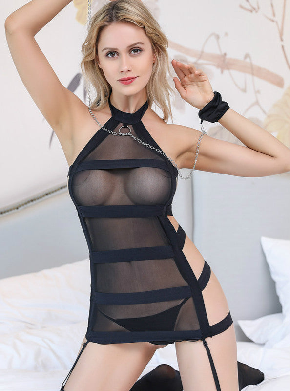 Black Mesh Bandage Bodystocking.