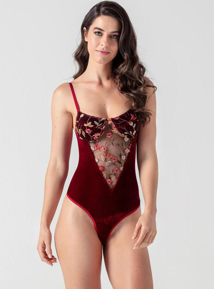 Red Embroidery Velvet Bodysuit - Evalamor