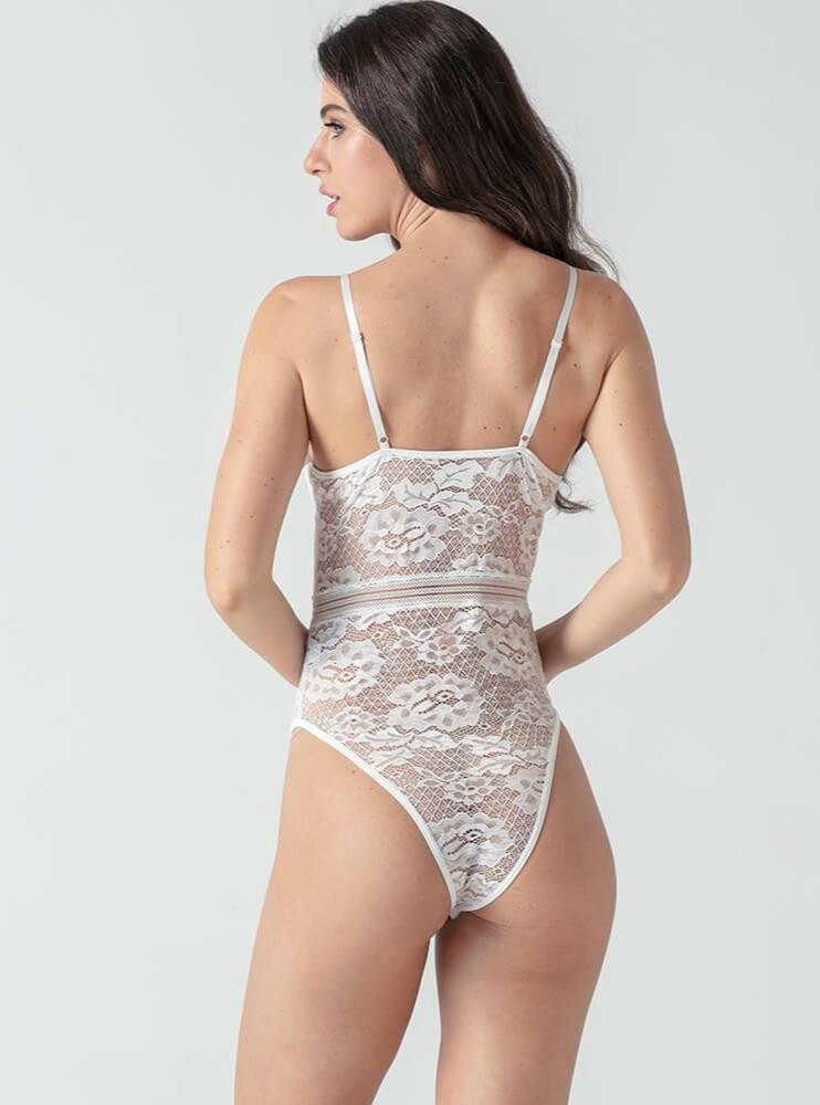 White Lace Forging Noodles Playsuits - Evalamor
