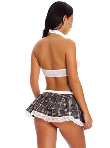 Grey Lace Mesh School Girl Costume - Evalamor
