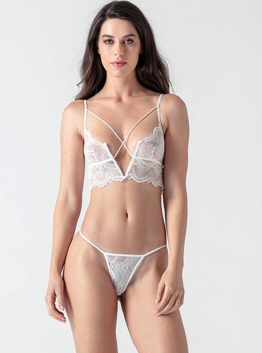 White Lace Hollow V Collar Bra Set - Evalamor
