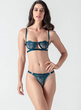 Load image into Gallery viewer, Blue Lace Strappy Push Up Bra Set - Evalamor