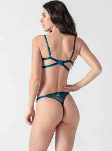 Blue Lace Strappy Push Up Bra Set - Evalamor