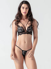 Load image into Gallery viewer, Black Lace Hollow V Collar Bra Set - Evalamor