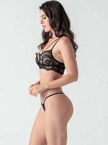 Black Lace Hollow V Collar Bra Set - Evalamor