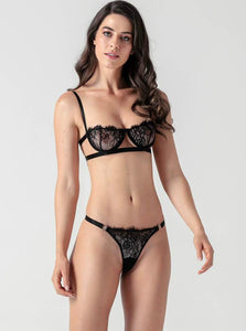 Black Lace Strappy Push Up Bra Set - Evalamor
