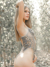 Load image into Gallery viewer, Grey Floral Embroidered Bodysuit