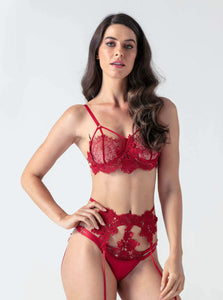 Red Lace Strappy 3 Piece Bra Set.