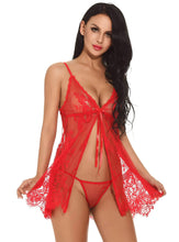 Load image into Gallery viewer, Red Sheer Lace Babydoll Set - Evalamor