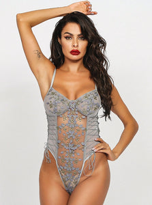 Grey Floral Embroidered Bodysuit - Evalamor