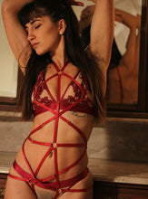 Load image into Gallery viewer, Red Strappy Body Cage Harness