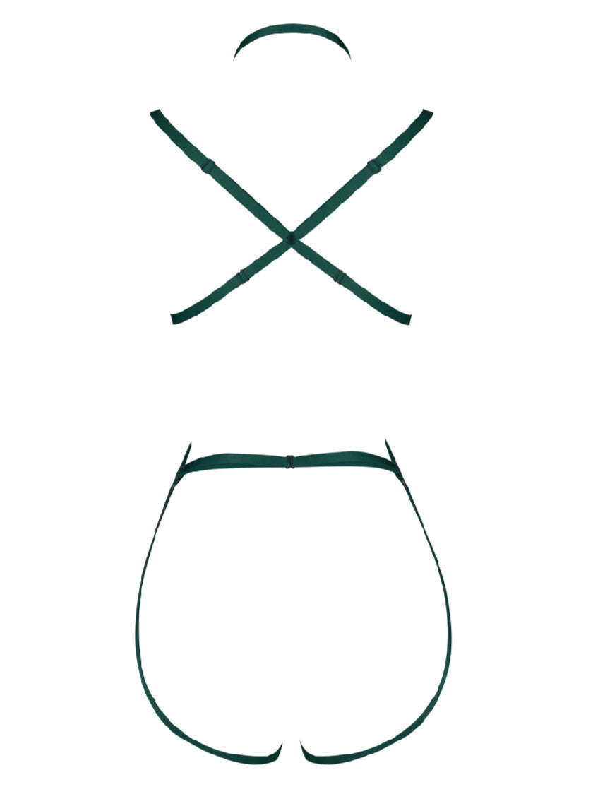 Green Hollow Bondage Bodysuit