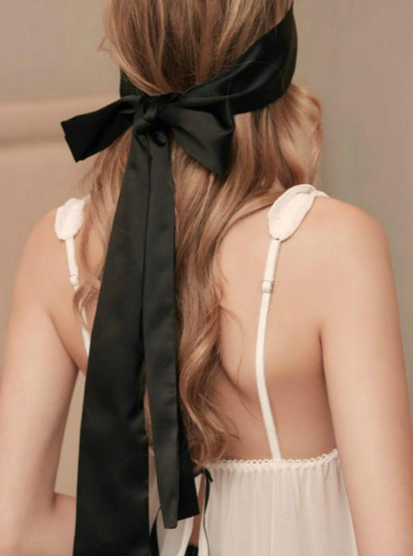 Black Silk Tied Eye Mask - Evalamor