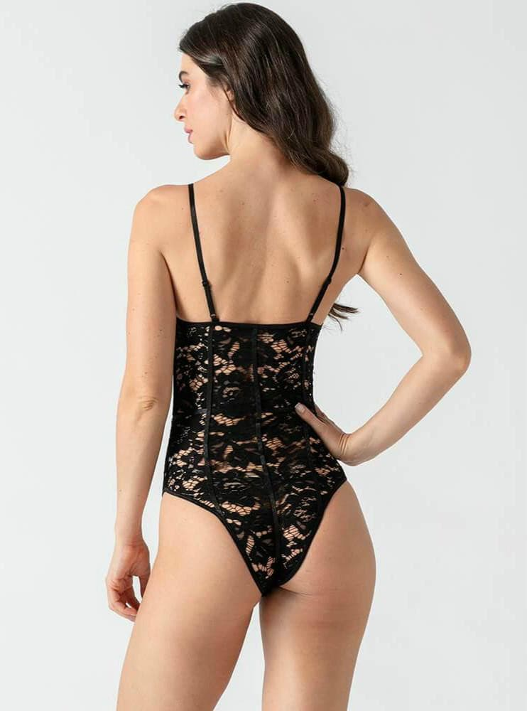 Black Hollow Embroidery Bodysuit.