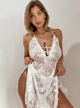 Load image into Gallery viewer, White Lace Side Split Sling Babydoll