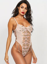 Load image into Gallery viewer, Pink Floral Embroidered Bodysuit - Evalamor